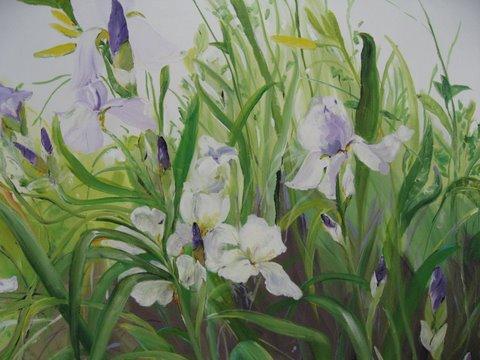 KarolaSteinbrecher Iris fields, 48x48, acrylic, $4000