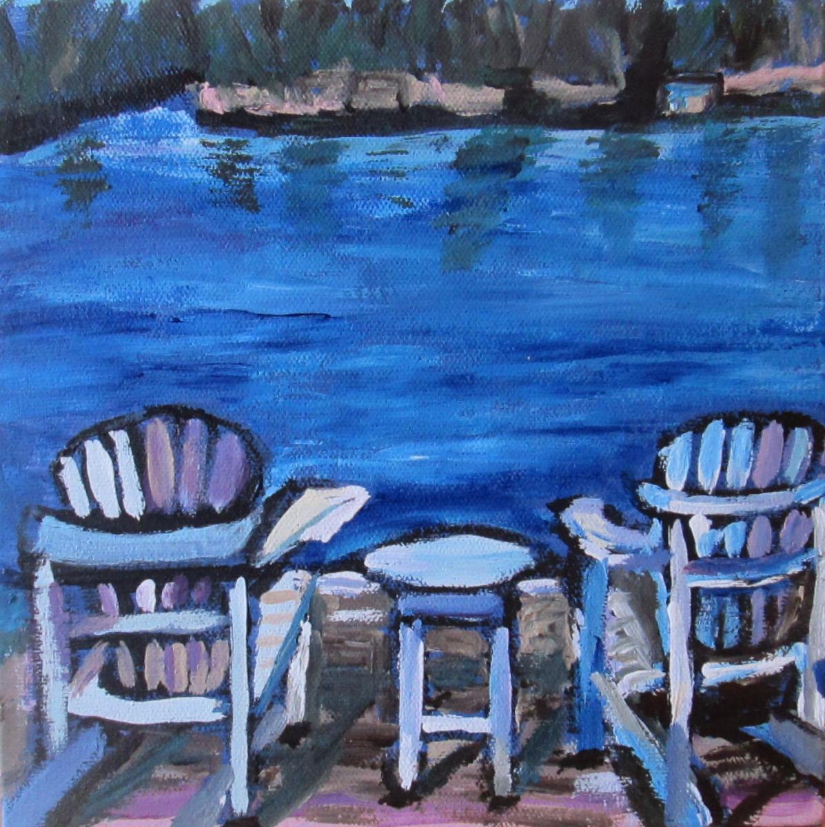 Relaxing in Muskoka, acrylic on canvas, 8x8, $90